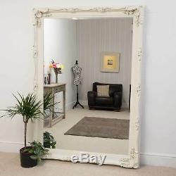 Large Cream Antique Shabby Chic Ornate Wall Mirror 5Ft1 X 7Ft1 154cm X 215cm