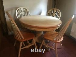 Large Extendable Solid Dining / Table Shabby Chic WITH Chairs