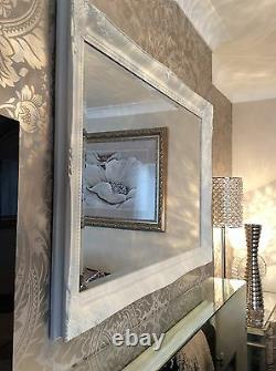 Large French White shabby chic ornate Decorative over mantle Wall Mirror FreeP&P