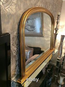 Large GOLD Arch top Overmantle Ornate Elegant Mirror Save ££s Insured in transit