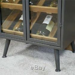 Large Industrial Retro Glazed Wine Display Cabinet Metal Grey Unit Storage Shelf