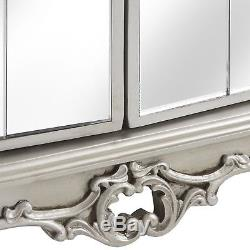 Large Mirrored 4 Door Sideboard Cabinet in Antique Silver Shabby Chic Furniture