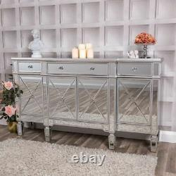 Large Mirrored Silver Sideboard Cabinet Cupboard Hallway Table Unit Glass Home