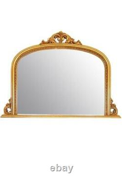 Large Ornate Gold Over Mantle Shabby Chic Big Wall Mirror 4Ft2 X 3Ft 126 X 91cm