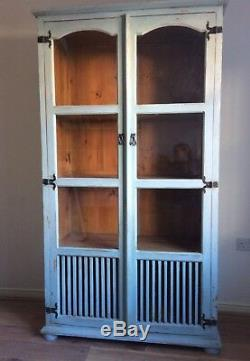Large Painted Linen/kitchen Cupboard. Annie Sloans Svenska Blue. Shabby chic