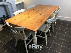 Large Pine Dining Refectory Table and 6 Chairs- F&B Old White, Shabby Chic