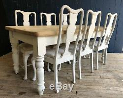 Large Pine Farmhouse Rustic Shabby Chic Painted Dining Table & Chairs DELIVERY