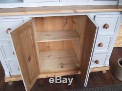 Large Pine Farmhouse Welsh Dresser/Display Cabinet `Paris Grey` Shabby Chic