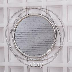 Large Round Silver Wall Mirror Swirl Modern Hallway Bedroom Home Living Dining