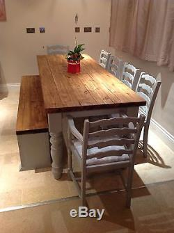 Large Rustic Farmhouse Table Shabby Chic Painted Oak Chairs and Storage Bench