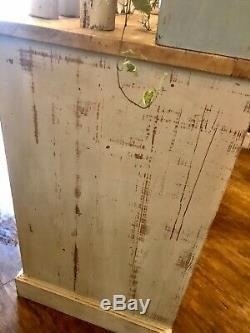 Large Shabby Chic Farmhouse Dresser In Annie Sloan Country Grey And Duck Egg