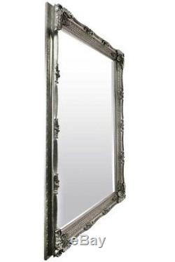 Large Silver Antique Shabby Chic Ornate Wall Mirror 5Ft1 X 7Ft1 154cm X 215cm