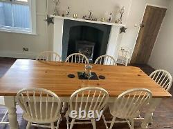 Large Table Pine kitchen / Dining seats 8 complete with 8 Chairs Shabby Chic