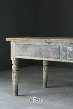 Large Victorian Distressed Rustic Shabby Chic Pine Work Kitchen Table