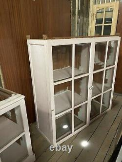 Large Vintage Shabby Chic Tall Glazed Display Kitchen Cabinet