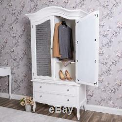 Large Wooden White Wardrobe Storage Ornate Bedroom Furniture French Chic Home