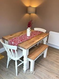 Large pine farmhouse kitchen table and benches / chairs, shabby chic project