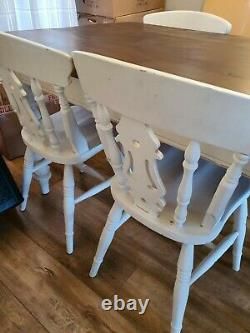 Large shabby chic solid Farmhouse kitchen table and 6 chairs