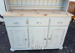 Lightly Distressed Solid Pine Glazed Dresser In Colour Of French Gray F&b