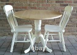 Lovely Shabby Chic Small Beech Dropleaf Round Table & 2 Matching Chairs