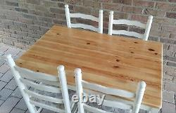 Lovely Shabby Chic Small Solid Pine Oblong Farmhouse Table & 4 Matching Chairs