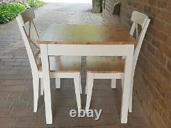 Lovely Shabby Chic Small Square Solid Pine Table & 2 Matching Chairs