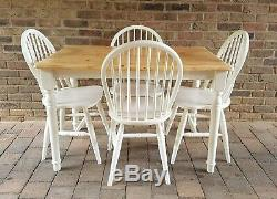 Lovely Shabby Chic Solid Pine Farmhouse Kitchen Table & 4 Matching Chairs