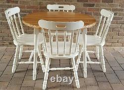 Lovely Shabby Chic Vintage Solid Pitch Pine Round Table & 4 Matching Chairs