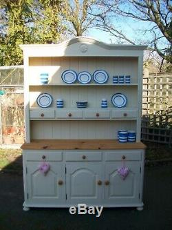 Lovely solid pine dresser painted in Annie Sloan Cream Welsh dresser
