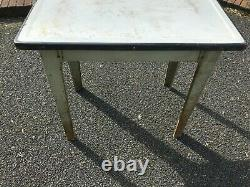 Metal Enamel Top Table Kitchen Table Retro Vintage Shabby Chic Industrial French