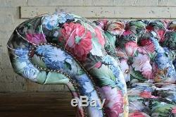 Modern Handmade Shabby Chic Floral Patterned Velvet 3 Seater Chesterfield Sofa