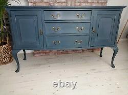 Navy blue shabby chic wooden sideboard cabinet (10 miles free delivery)
