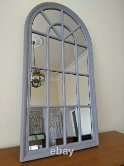 New GREY Arch Window Style Wood Shabby Chic Large Rustic Distressed Wall Mirror