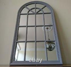 New GREY Arched Window Style Shabby Chic Large Rustic Distressed Wall Mirror