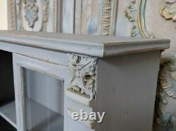New GREY VINTAGE French Shabby Chic Glass Wall BATH Kitchen Cabinet Cupboard