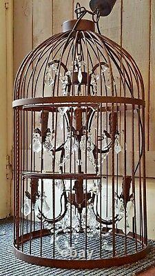 New Large BIRDCAGE Shabby Chic Rustic Crystal Chandelier Ceiling Light Lantern