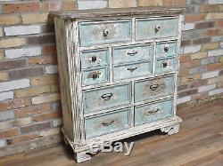 New Rustic Painted Multi 7 Drawer Chest of drawers Distressed Paint 107cm
