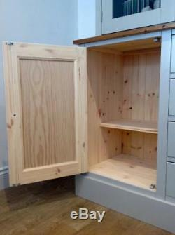 New Solid Pine 5ft Welsh Dresser Kitchen Unit Cabinet Painted Shabby Chic