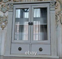 New VINTAGE French GREY Glass Bookcase Shabby Chic BATH Kitchen Cabinet Cupboard