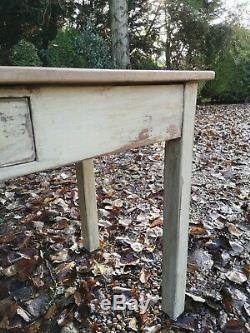 Old Antique Solid Pine Painted Distressed Kitchen Hall Desk Table FREE DELIVERY