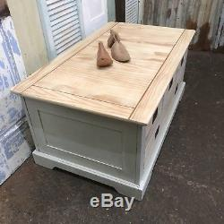 Painted Pine Coffee Table With Drawers Shabby Chic Double Sided Country Farmhouse