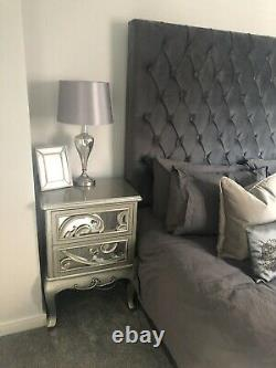 Pair Of Champagne Mirrored Bedside Tables/Cabinet Glass Chic RRP £520