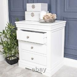 Pair Of White Bedside Tables Chest 3 Drawer Bedroom Furniture Unit Home Wood