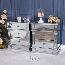 Pair of Silver Mirrored Bedside Table Chest Venetian Glass Cabinet Bedroom