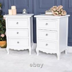 Pair of White Wooden Bedside Tables Chest Bedroom Furniture 3 Drawer Unit Home