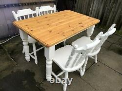 Pine Table & Chair Set Farmhouse Shabby Chic Vintage Hand-painted