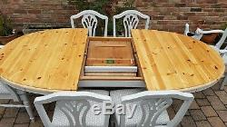 Quality Shabby Chic Ducal Solid Pine Extending Table & 6 Ducal Chairs