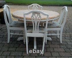 Quality Shabby Chic Ducal Solid Pine Round Extending Table & 4 Matching Chairs