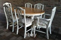 Quality Shabby Chic Large Ducal Solid Pine Extending Table & 6 Matching Chairs