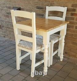 Quality Shabby Chic Small Oblong Solid Pine Table & 2 Matching Chairs